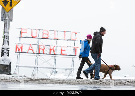 Washington, USA. 9th Feb 2019. A couple walking their dog crosses Pine street as a strong winter storm blankets Seattle in six inches of snow. Credit: Paul Christian Gordon/Alamy Live News - Stock Photo