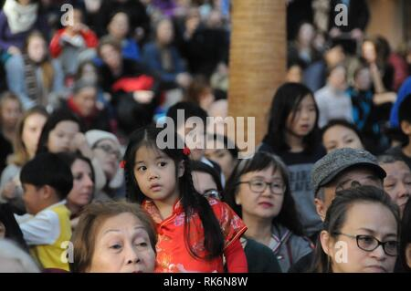 New York, USA. 10th Feb 2019.  People watch a performance celebrating Chinese New Year at Brookfield Place in Lower Manhattan of New York City, the United States, on Feb. 9, 2019. Around 2,000 people watched a performance celebrating Chinese New Year on Saturday at Brookfield Place, an indoor commercial area in Lower Manhattan of New York City.  e Credit: Xinhua/Alamy Live News - Stock Photo