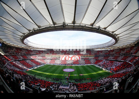 Madrid, Spain. 9th Feb 2019. A view of the Wanda Metropolitano Stadium before the Spanish La Liga match between Atletico Madrid and Real Madrid at Wanda Metropolitano Stadium in Madrid, Spain ( Final score Atletico Madrid 1:3 Real Madrid ) Credit: SOPA Images Limited/Alamy Live News - Stock Photo