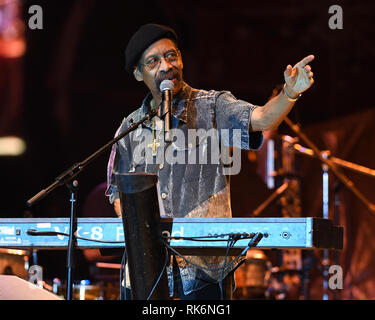 Florida, USA. 9th Feb 2019. Leroy 'Lonnie' Jordan of WAR performs at The Magic City Casino on February 9, 2019 in Miami, Florida. Credit MPI04/MediaPunch Credit: MediaPunch Inc/Alamy Live News - Stock Photo