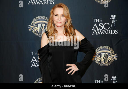 California, USA. 9th Feb 2019. Actress Lea Thompson poses at the 33rd annual ASC Awards and The American Society of Cinematographers 100th Anniversary Celebration at the Ray Dolby Ballroom at Hollywood & Highland, Saturday, February 9, 2019 in Hollywood, California. Photo by Danny Moloshok/Moloshok Photography, Inc./imageSPACE Credit: Imagespace/Alamy Live News - Stock Photo