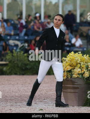 Florida, USA. 9th Feb 2019. Georgina Bloomberg  participates in Class 101 - FEI CSI5* $391,000 Fidelity Investments Grand Prix where the winner was Martin Fuchs (Swiss) second place was Kent Farrington (USA) and third was Conor Swail (IRE).  eorgina Leigh Bloomberg is the owner of the equestrian team New York Empire; a professional equestrian; and a philanthropist. She is the daughter of Susan Brown an Credit: Storms Media Group/Alamy Live News - Stock Photo