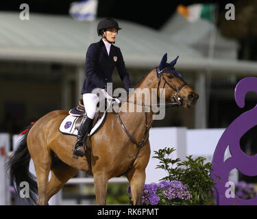 Florida, USA. 9th Feb 2019. Jessica Rae Springsteen (Bruce Springsteen's daughter) participates in Class 101 - FEI CSI5* $391,000 Fidelity Investments Grand Prix where the winner was Martin Fuchs (Swiss) second place was Kent Farrington (USA) and third was Conor Swail (IRE). Credit: Storms Media Group/Alamy Live News - Stock Photo