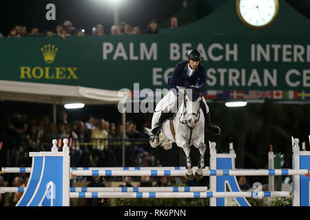 Florida, USA. 9th Feb 2019. Martin Fuchs participates in Class 101 - FEI CSI5* $391,000 Fidelity Investments Grand Prix where the winner was Martin Fuchs (Swiss) second place was Kent Farrington (USA) and third was Conor Swail (IRE). Credit: Storms Media Group/Alamy Live News - Stock Photo