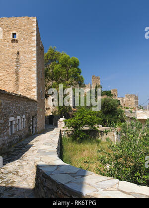 Old tower housed in Areopoli, Mani, Greece - Stock Photo