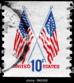 USA - CIRCA 1973: A Stamp printed in USA shows the 50-Star & 13-Star Flags, circa 1973 - Stock Photo