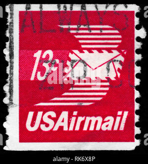 USA - CIRCA 1973: A Stamp printed in USA shows the Winged Airmail Envelope, circa 1973 - Stock Photo