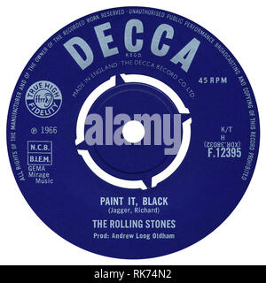UK 45 rpm single of Paint It, Black by The Rolling Stones on the Decca label from 1966. Written by Mick Jagger and Keith Richard and produced by Andrew Loog Oldham. - Stock Photo