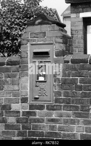 Royal Mail Post box in the wall, Wakefield, Yorkshire. 1979 - Stock Photo