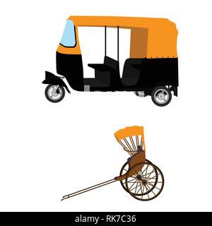 Tuk-tuk and hand pulled rickshaw. indian auto rickshaw concept. Delhi auto. . Vector illustration. eps10 - Stock Photo