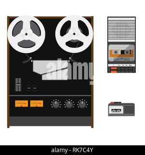 Vector illustration vintage audio tape recorder, reel to reel tape recorder and dictaphone - Stock Photo