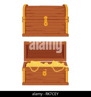 Vector pirate opened and closed treasure chests full of gold an jewelry - Stock Photo