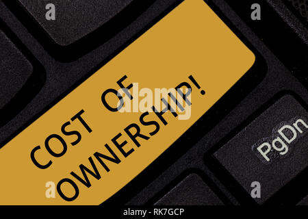 Word writing text Cost Of Ownership. Business concept for purchase price of asset plus the price of operation Keyboard key Intention to create compute - Stock Photo