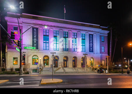 LAS VEGAS, NEVADA, USA - JANUARY 1ST, 2018: Night view of The Mob Museum, officially the National Museum of Organized Crime and Law Enforcement, - Stock Photo