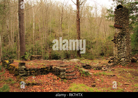 Numerous ruins, such as those pictured here, can be found scattered throughout the Elkmont Historic District in Great Smokey Mountains National Park - Stock Photo