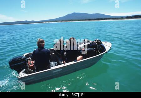 The guides on the Maria Island Walk travel to the Island in an aluminium dhingi. The latest trend on the Tasmanian travel scene, luxury bush walks cou - Stock Photo