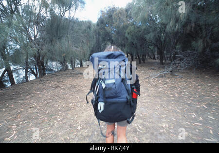 A guide leads the way on the Maria Island Walk. The latest trend on the Tasmanian travel scene, luxury bush walks couple gentle walks in the state's w - Stock Photo