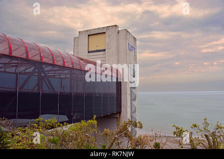 The Lift Overlooking the Bay at Shanklin on the Isle of Wight, UK. - Stock Photo