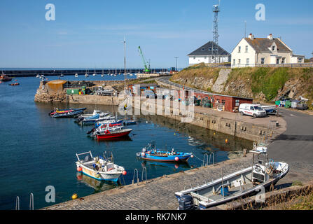 A sunny day view of Braye Harbour on Alderney Channel Islands. - Stock Photo
