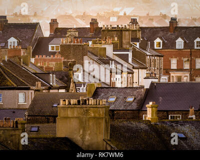 House rooftops, Whitby, North Yorkshire, UK. - Stock Photo