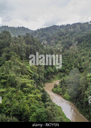 Ahuahu Stream in flood, flowing through native forest bush covered hills, an overcast day in autumn, Ahuahu Valley, Whanganui River, New Zealand - Stock Photo