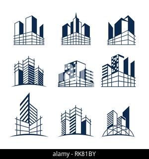 Building construction logo bundle, Various forms and models of buildings with scaffolding, suitable for construction or real estate logos. - Stock Photo