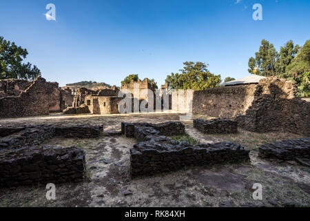 Fasil Ghebbi is the remains of a fortress-city within Gondar, Ethiopia - Stock Photo