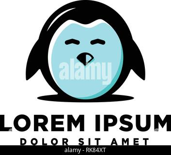 cute penguin logo template vector illustration icon element - Stock Photo