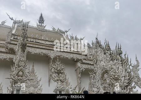 Wat Rong Khun, known as the White Temple. Chiang Rai, Thailand - Stock Photo