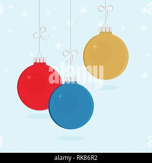 Vector illustration hanging decorative Christmas balls with ribbon and bow. Christmas, New year card - Stock Photo