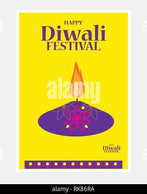Vector illustration of burning diya on happy Diwali Holiday background for light festival of India - Stock Photo