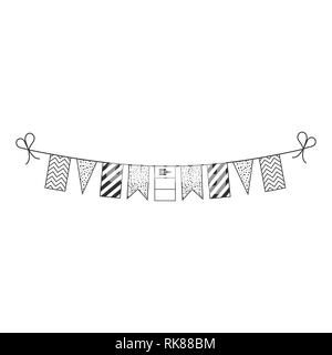 Decorations bunting flags for Mongolia national day holiday in black outline flat design. Independence day or National day holiday concept. - Stock Photo