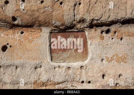 Wall painting at Long House cliff dwellings, built by Anasazi, in Frijoles Canyon, Bandelier National Monument, New Mexico, USA. - Stock Photo