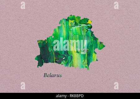 Artistic Map of Belarus - Stock Photo