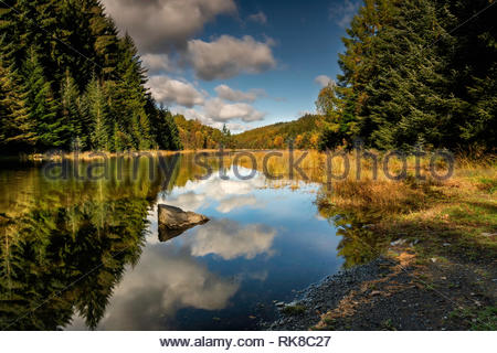 Llyn Park is a lake in the Gwydir Forest in North Wales. It lies at an elevation of 662 feet above sea level, near to the village of Betws-y-Coed. - Stock Photo