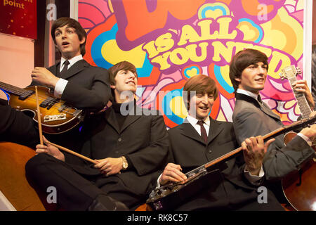 The Beatles in Madame Tussauds of London - Stock Photo