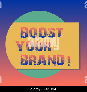 Handwriting text Boost Your Brand. Concept meaning describe high levels of overall customer satisfaction Blank Rectangular Color Shape with Shadow Com - Stock Photo