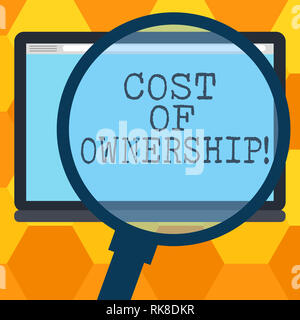 Handwriting text writing Cost Of Ownership. Concept meaning purchase price of asset plus the price of operation Magnifying Glass Enlarging Tablet Blan - Stock Photo