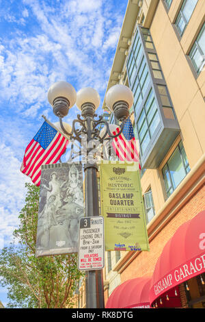 San Diego, California, United States - July 31, 2018: typical gas lamp with american flag symbol of old historic victorian Gaslamp Quarter in San - Stock Photo