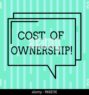 Word writing text Cost Of Ownership. Business concept for purchase price of asset plus the price of operation Rectangular Outline Transparent Comic Sp - Stock Photo