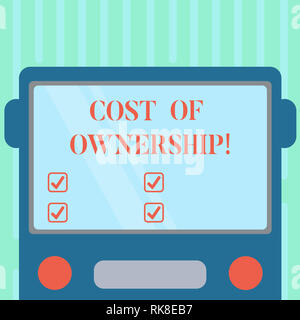 Word writing text Cost Of Ownership. Business concept for purchase price of asset plus the price of operation Drawn Flat Front View of Bus with Blank  - Stock Photo