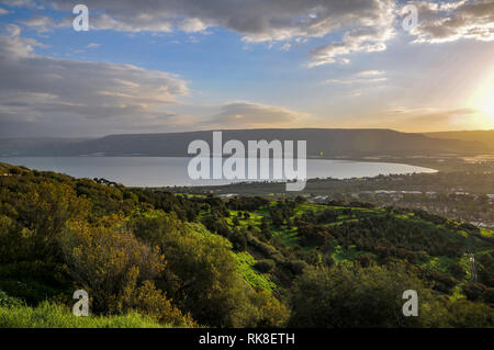 Israel, Lower Galilee, view of the Sea of Galilee from west. Golan Heights in the background - Stock Photo