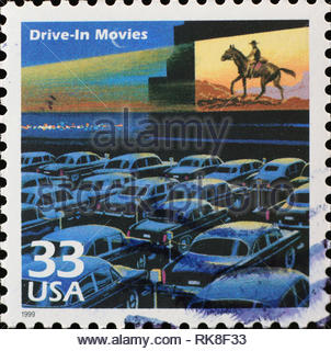 Drive-in movies on american postage stamp - Stock Photo