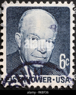 Dwight Eisenhower on vintage american postage stamp - Stock Photo