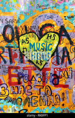 Prague, Czech republic - 13 December 2015.: John Lennon graffiti wall. Editorial use only. - Stock Photo