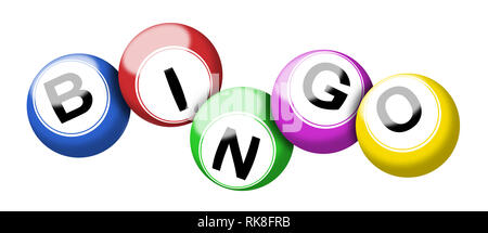 A colorful set of bingo balls illustration isolated on white with clipping path - Stock Photo