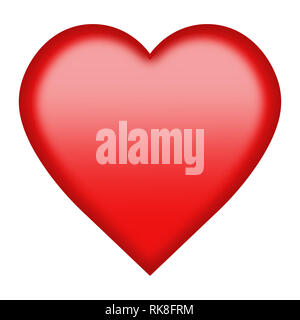 A red heart button isolated on white with clipping path - Stock Photo