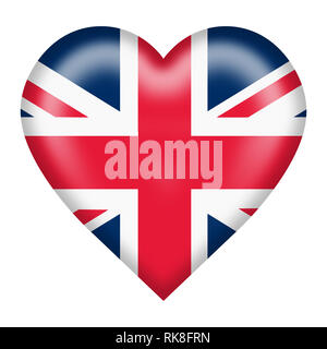 A union flag heart button isolated on white with clipping path - Stock Photo