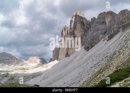 The Three Peaks of Lavaredo from a western point of view. Sesto Dolomites, Trentino Alto Adige, Italy. - Stock Photo