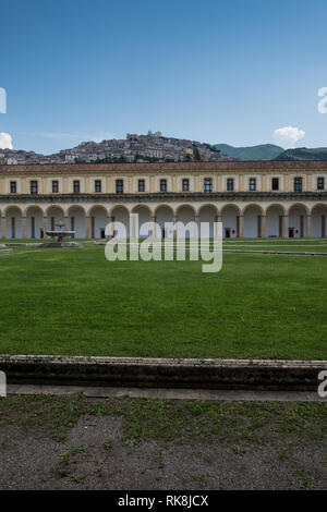 The Certosa of San Lorenzo, in Padula, Italy. It is a large Carthusian monastery, or charterhouse, located in the town of Padula, in the Cilento Natio - Stock Photo